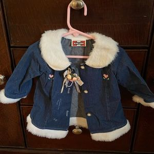 Other - baby jean and fuzzy jacket